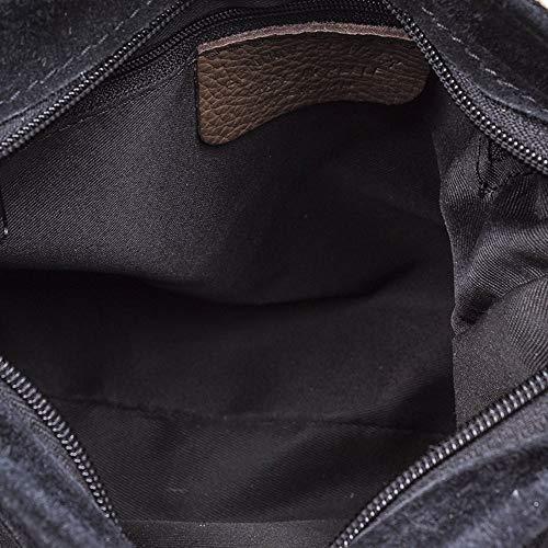IN piel Negro cuero genuino flecos Color VERA decorativa GAMZUA de MADE 24x20x8 Borla 5 LEATHER bandolera PELLE piel Bolso ITALIANA mujer cm FIRENZE ITALY ARTEGIANI auténtica Bolso zOqXx8naFw