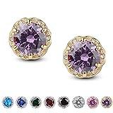 Jardme Crown Shape Crystal Round earring stud White Cubic Zircon Earring Stud (Purple)