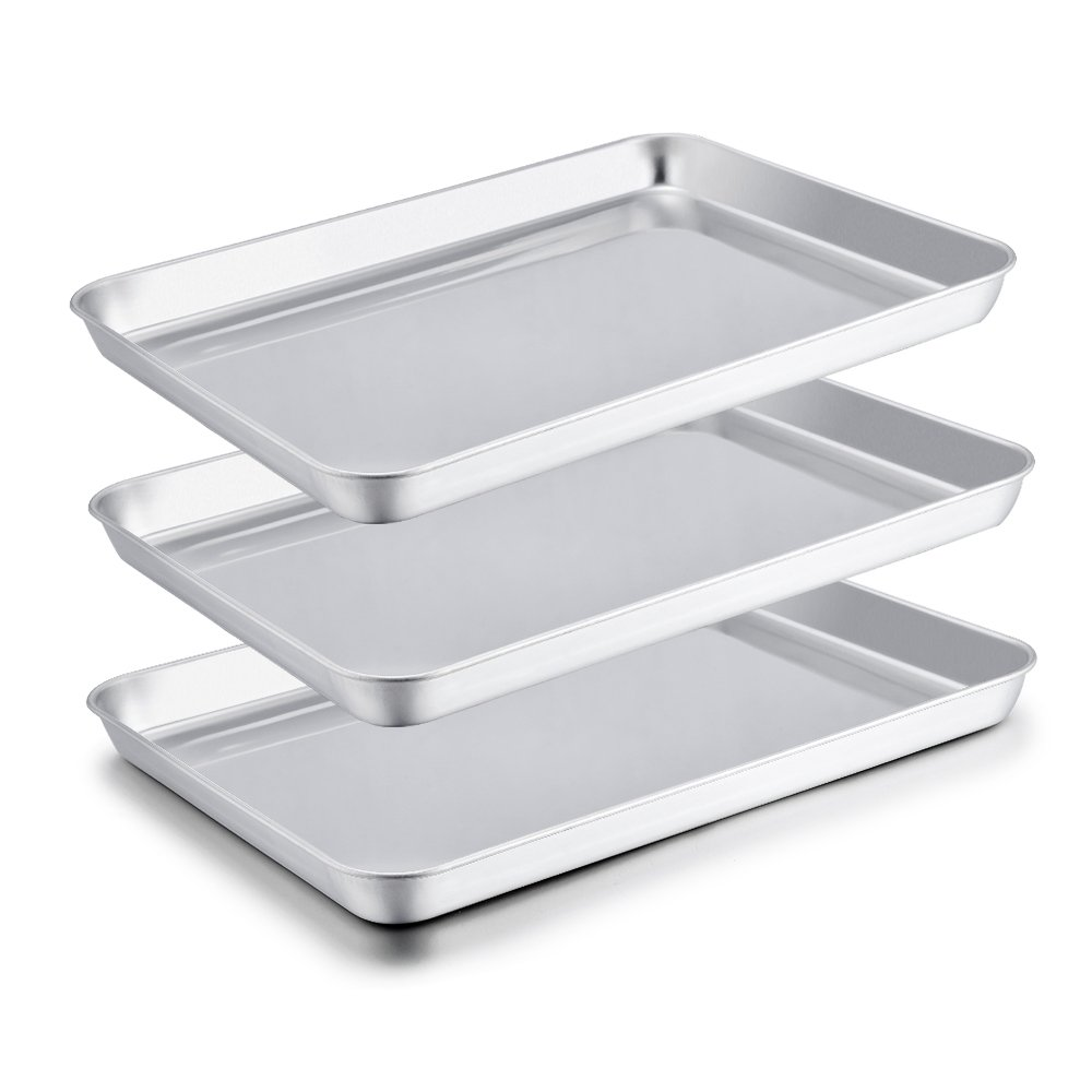 TeamFar Baking Sheets Set of 3, Stainless Steel Cookie Sheet Baking Tray Pan, 16x12x1 inch, Non Toxic & Rust Free, Easy Clean & Dishwasher Safe by TeamFar (Image #7)