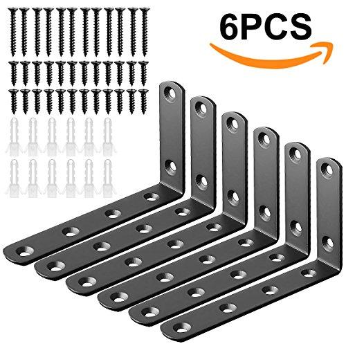 L Bracket Corner Brace Stainless Steel Angle Bracket Heavy Duty 90 Degree Right Angled Braces - 6 Packs (125X75mm(5InchX3Inch)-6PACK, Black) by LANIAKEA