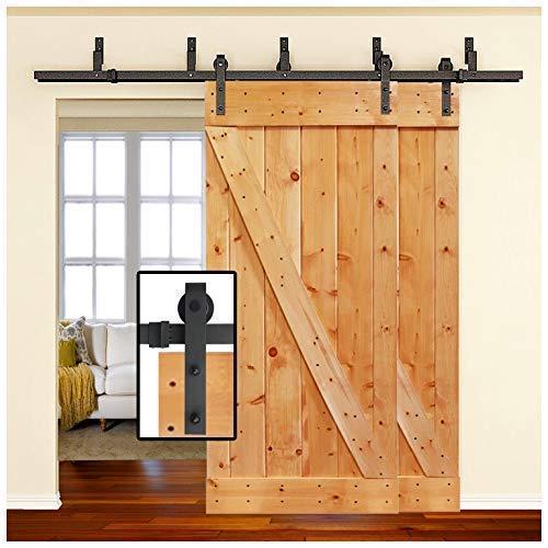 [Sale] 6.6FT Heavy Duty Bypass Double Door Sliding Barn Door Hardware (Powder Coated Black) (J Shape Hangers) (2 x 6.6Ft Solid Rails) Installation Video Included by Homeland Hardware (New York) ()