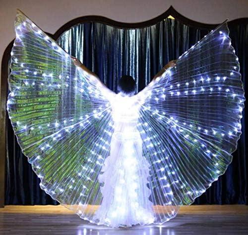 伸縮スティック付きLEDイシスウイングアダルト玉虫色ベリーダンスパフォーマンスパーティー天使の羽