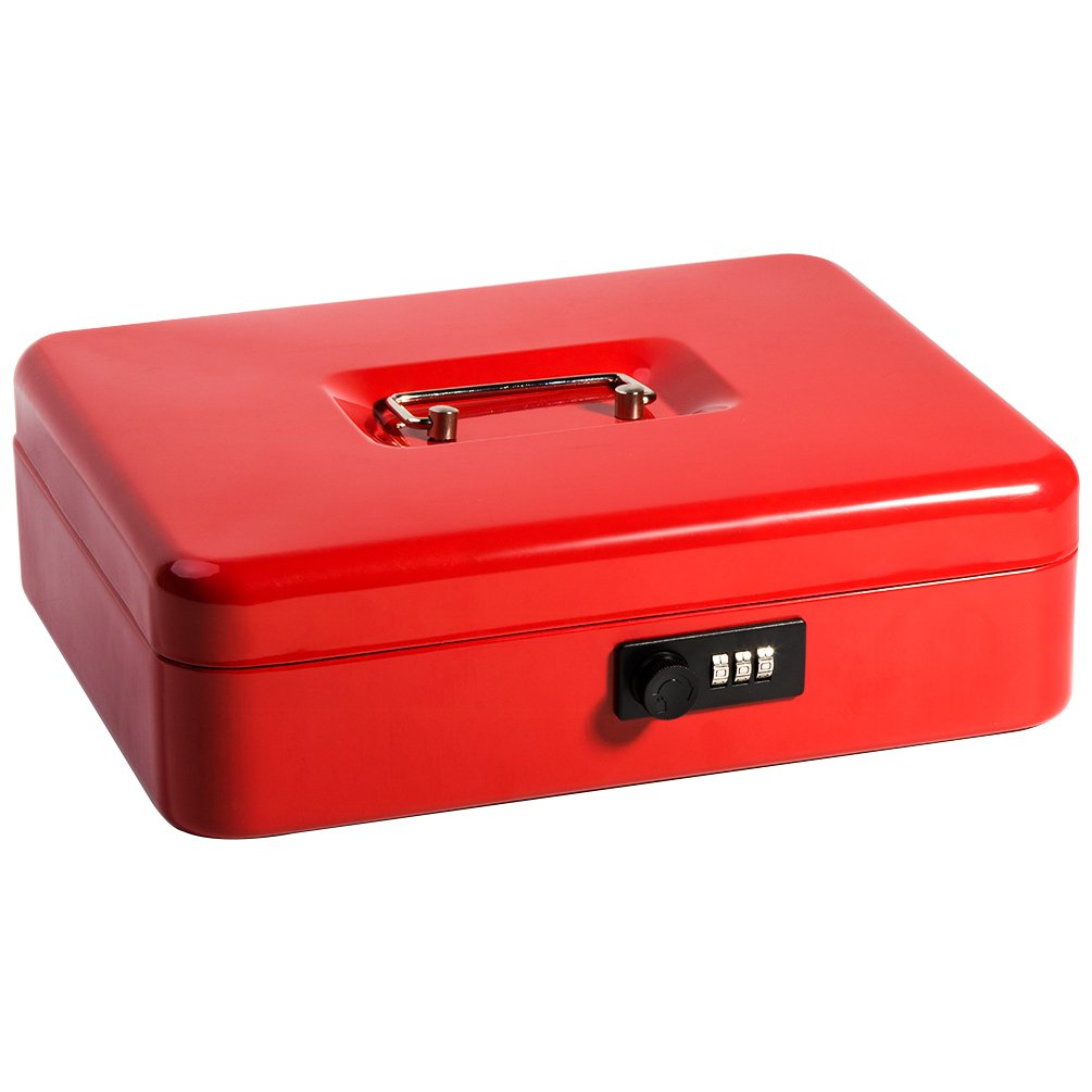 Safe Metal Cash Box with Money Tray & Combination Lock, Decaller Large Lock Storage Money Box with 5 Compartments Cash Tray, Red, 11 4/5'' x 9 2/5'' x 3 1/2'', QH3003L by Decaller (Image #2)