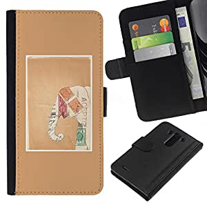 WINCASE Cuadro Funda Voltear Cuero Ranura Tarjetas TPU Carcasas Protectora Cover Case Para LG G3 - elefante marco marrón papel de arte