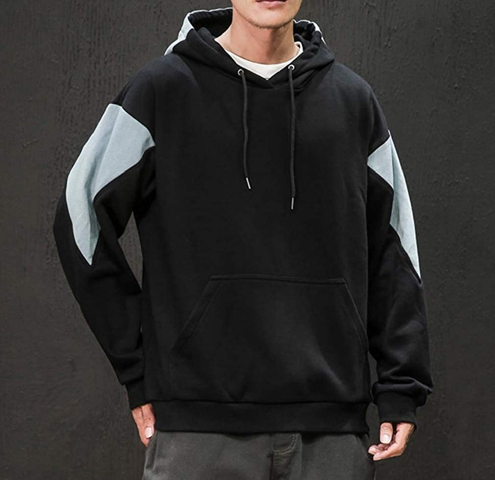 Comaba Mens Basic Style Contrast Pullover Pockets Plus-Size Hood Sweatshirts