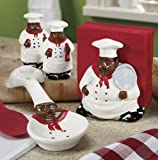 African American, Black Happy Bistro Chef Hand Painted Ceramic Table Top Set, 89025/28 by ACK
