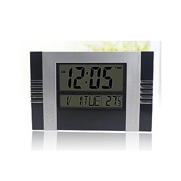 Buena acción despertador Sala de estar Dormitorio Reloj de pared Moderno Reloj Silencioso Creativo Reloj Electrónico LED Pantalla LCD Big Bell (Color ...
