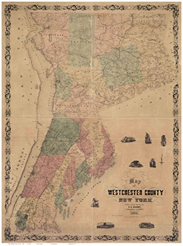 Westchester County New York 1858 - Wall Map with Homeowner Names - Old Map - County Yonkers