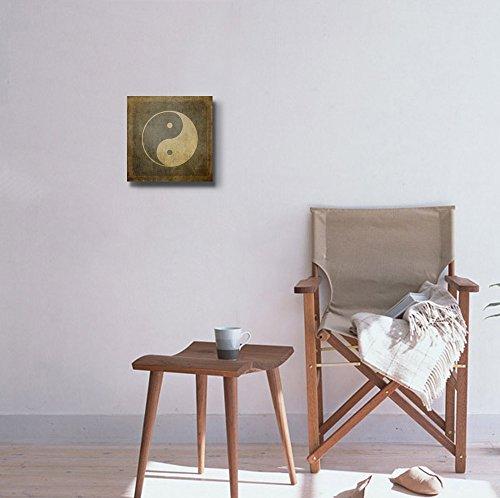 Yin Yang Symbol on Vintage Textured Background