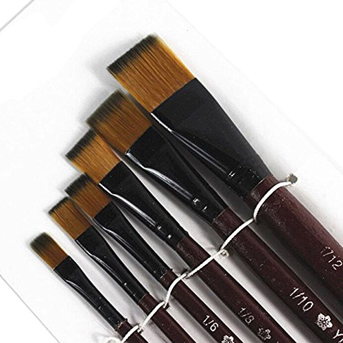 (^YW^^ ❤ Nylon Pencil , Pack of 6 Art Brown Nylon Paint Brushes for)