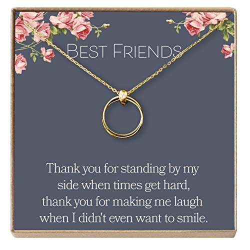 Linked Long Necklace - Dear Ava Necklace: BFF, Long Distance, Friends Forever, 2 Interlocking Circles (Gold-Plated-Bronze, NA)