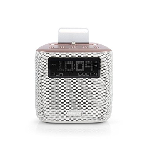 iHome iPL24 Dual Alarm FM Clock Radio with Lightning Connector for iPhone 5/5S/SE 6/6Plus 6S/6SPlus w/USB Out Charging- Rose Gold