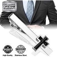 MGStyle Tie Clip, Mens Tie Bar, Men's Silver Tie Clips for Men, Skinny Tie Bars for Ties Neckties, Novelty Metal Tie Clip Tack Pin, Tie Pinch Clasp, Regular Normal Size 2.2 Inch