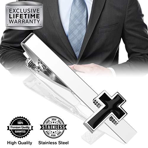 MGStyle Tie Clip, Mens Tie Bar, Mens Silver Tie Clips for Men, Cross Skinny Tie Bars for Ties Neckties, Crucifix Metal Tie Clip Tack Pin, Christian Jesus Tie Pinch Clasp, Regular Normal Size 2.2 Inch