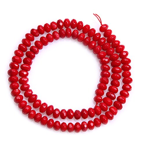 (JOE FOREMAN 4x6mm Red Coral Semi Precious Gemstone Rondelle Faceted Loose Beads for Jewelry Making DIY Handmade Craft Supplies 15