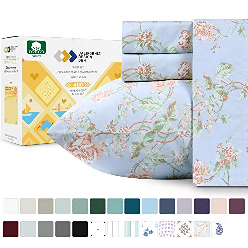 400 Thread Count 100% Cotton Sheets in Antique Rose Printed Queen Size Set, 4-Piece Long-staple Combed Cotton Best Sheets For Bed, Breathable, Sateen Weave Fits Mattress 16