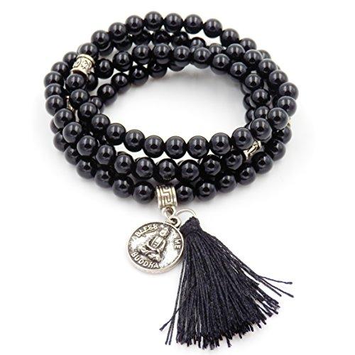 Mala Beads Bracelet, Buddhist Mala Prayer Beads, Buddha Bless Me Statement Necklace (Black ()