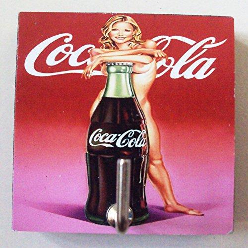 Agility Bathroom Wall Hanger Hat Bag Key Adhesive Wood Hook Vintage Sexy Girl And A Bottle Of Coke S Photo