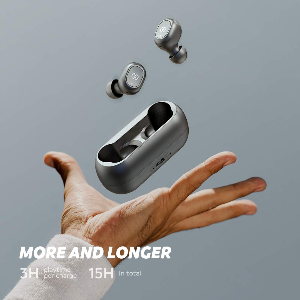 SoundPEATS TrueFree True Wireless Earbuds Bluetooth 5.0 in-Ear Stereo Bluetooth Headphones with Microphone Wireless Earphones 15 Hours Playtime, Hands-Free Calls, One-Step Pairing by SoundPEATS (Image #4)