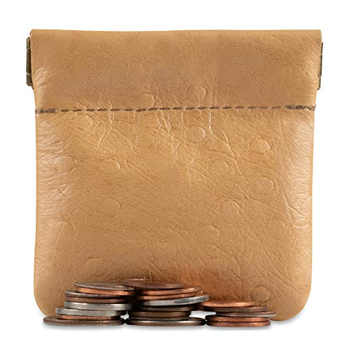 (Genuine Leather Squeeze Coin Purse, Pouch Made IN U.S.A. Change Holder For Men/Woman Size 3.5 X 3.5)