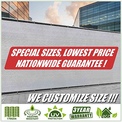 ColourTree Customized Size Fence Screen Privacy Screen Grey 5' x 60' - Commercial Grade 170 GSM - Heavy Duty - 3 Years Warranty