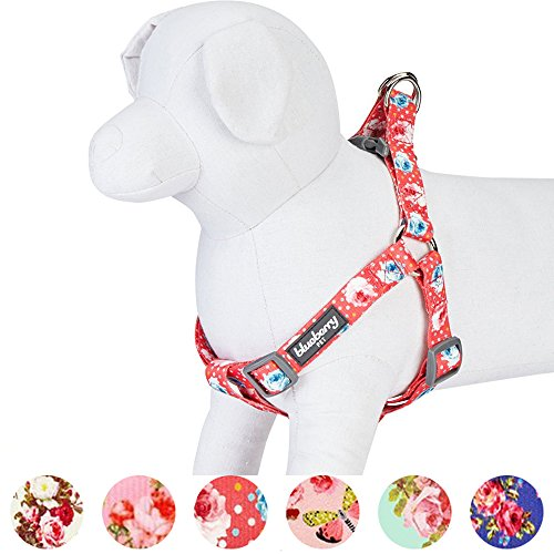 Blueberry Pet Step-in Spring Scent Inspired Rose and Polka Dot Print Brink Pink Dog Harness, Chest Girth 20