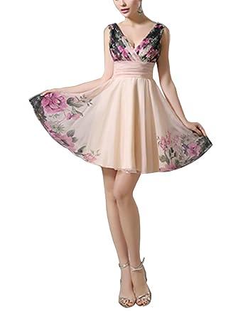 AYZ Womens Floral Printed Deep V Prom Dress Evening Dress Party Dress