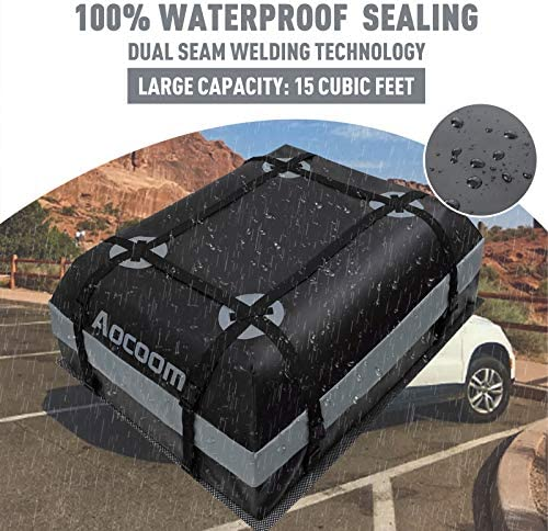 Aocoom Car Roof Bag Rooftop Cargo Carrier, 15 Cubic Feet Waterproof Car Top Luggage Storage Bag with Anti-Slip Mat, 5 Reinforce Straps and four Door Hooks for Vehicles with Racks or Without Racks