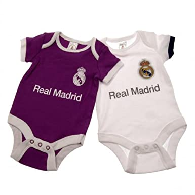 2f8e051f2ee 2 PACK REAL MADRID FC FOOTBALL CLUB 9-12 MONTHS BABY BODYSUITS / VESTS SET  HOME / AWAY KIT AUTHENTIC: Amazon.co.uk: Clothing