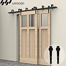 Winsoon Arrow Design Sliding Bypass Barn Wood Door Hardware Kit System Wall Mount Bracket Fit Double Wooden Doors New Style (6.6FT)