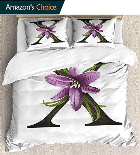(shirlyhome Letter X Print Comforter Quilt Set,Xerophyta Viscosa Flower on Capital Letter X Concept Alphabet Graphic Art Bedding Sets 68