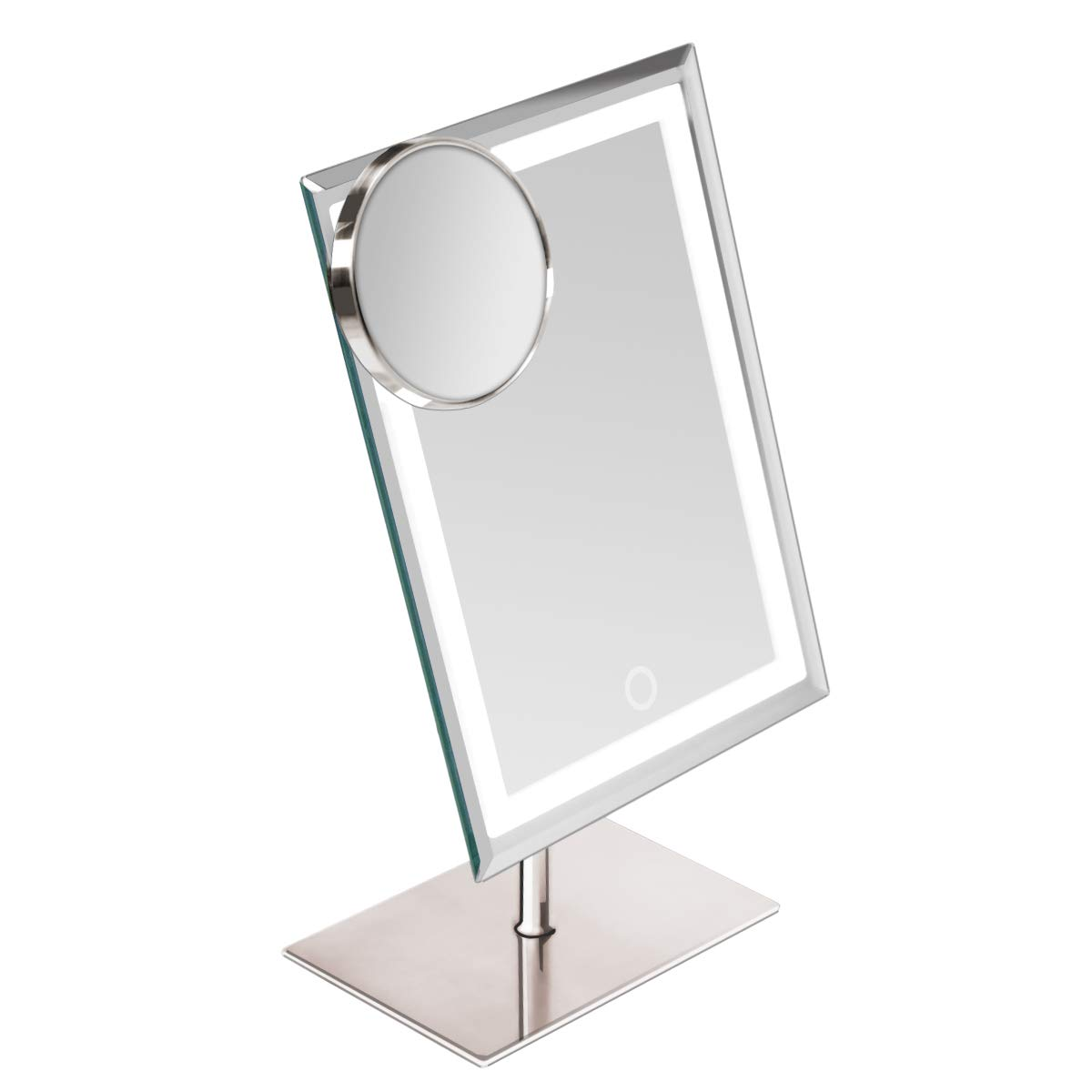 Waneway Lighted Makeup Vanity Mirror with 80 LEDs Lights and 10X Magnification Spot Mirror, Light up Dressing Table Cosmetic Mirror, 3X Brighter Dimmable Lighting, Full Metal Sleek Design,Satin Nickel