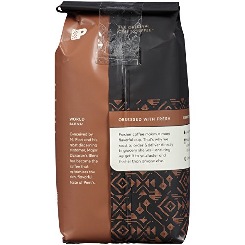 Peets Coffee, Major Dickasons Blend, Dark Roast, Ground Coffee, 12 oz., Rich, Smooth, and Complex Dark Roast Coffee Blend, with A Full Bodied and Layered Flavor