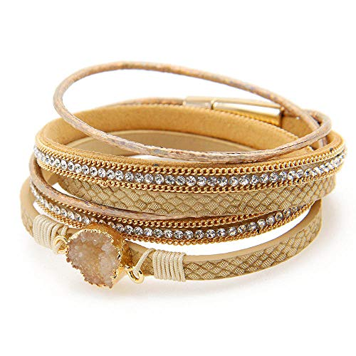 Fesciory Women Multi-Layer Leather Wrap Bracelet Handmade Wristband Braided Rope Cuff Bangle with Magnetic Buckle Jewelry (Yellow -