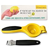 Lemon Lime Squeezer, Zester and Channel Knife Set by CK Home Comforts. Heavy Duty Lightweight Metal Manual Citrus Press Juicer. Easy to Use, Clean & Store.