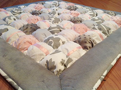 Bubble Puff Quilt for Floor Time Tummy Time in Pink and Gray by LuvinKatie