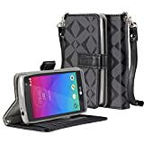 SOJITEK LG Leon LTE Premium Black Diamond on Black Series Color PU Leather Wallet Case with Stand / Removable Strap, Card & Money Pockets, ID Window Slots Pouches