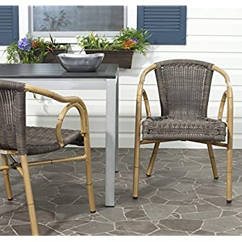 Safavieh Outdoor Living Collection Dagny Wicker Arm Chairs, Chocolate Brown, Set of 2