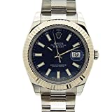Rolex Datejust II Blue Index Dial Fluted 18k White Gold Bezel Oyster Bracelet Mens Watch 116334BLSO