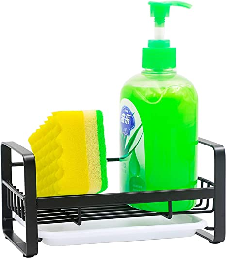 Sink Caddy Organizer Sponge Soap Holder for Kitchen Expandable Sink Storage Drain Rack Stainless Steel Black
