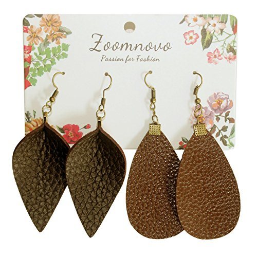 Brown Coffee Faux Leather Earrings 7 Colors Leather Leaf Leaves Teardrop Earrings Large Earring for Women Girls 2 Pairs Cute Soft Lightweight Popular Fashion Jewelry Joanna Earing (Coffee Faux Leather)