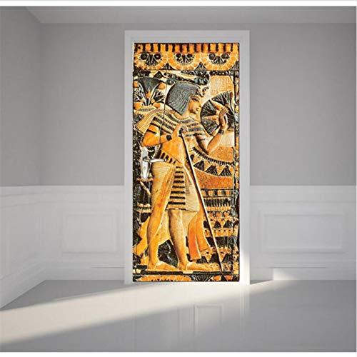 Svsnm 3D Egypte Pharaons Peinture par Autocollant Décor À La Maison 90X200Cm Autocollant Amovible Autocollant Amovible Coulissant par Mural Papier Peint