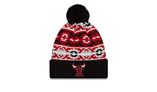 Amazon.com : Chicago Bulls New Era NBA Retro Chill Throwback Cuffed Knit Hat with Pom : Sports & Outdoors