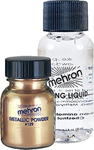 Mehron Makeup Metallic Powder With Mixing Liquid, Gold (1 Oz)