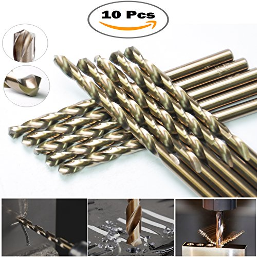 Sino-max 10Pcs Pack M35 HSS Cobalt Jobber Length Twist Drill Bit 1/4 Inch, 135 Point Angle Split Point, Drilling Steel, Metal, Iron, Aluminium, Copper, Plastic.. - Cobalt Steel Metal