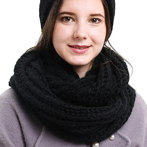 Solid Crochet Infinity Scarf Soft Warm Scarves for Women Fall Winter Thick Circle Loop Scarfs