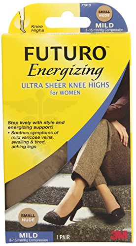 Futuro Energizing Ultra Sheer Knee Highs for Women, Helps Improve Circulation for Tired Legs, Mild Compression, Small, Nude - Ultra Vein Guard
