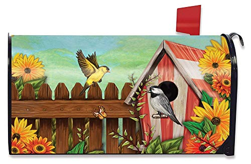 Briarwood Lane American Birdhouse Spring Magnetic Mailbox Cover Floral Birds Standard