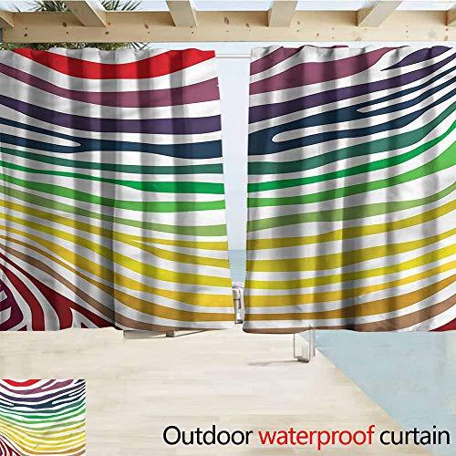 MaryMunger Window Curtains Zebra Print Stripes Rainbow Colors Darkening Thermal Insulated Blackout W55x72L - Zebra Elm