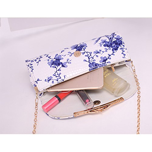 Shoulder Flower Leather Bag Dooppa Ladies PU Pattern Flower Clutch Bag Blue Handbag Crossbody Purse fgwxqA8tqE